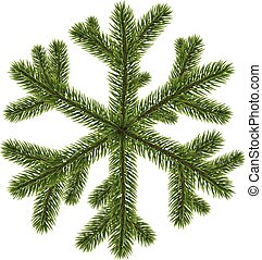 Green coniferous snowflake on white. - Green original...