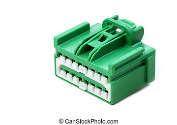 Green Connector - Large green connector isolated on white...