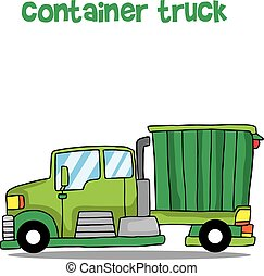 Green container truck vector illustration