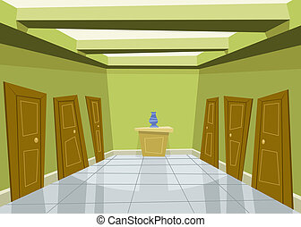 Green corridor - Cartoon green corridor background...