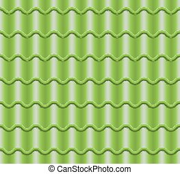 Green Corrugated Tile Vector. Element Of Roof. Seamless Pattern. Classic Ceramic Tiles Cover Illustration.