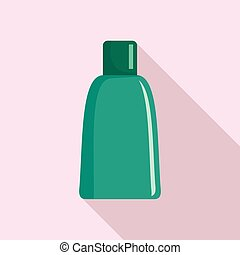 Green cosmetic bottle icon, flat style