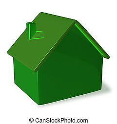 Green cottage - Simple green cottage isolated
