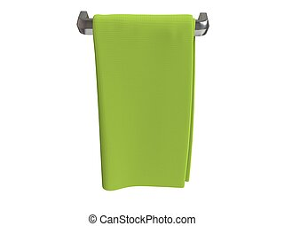 Green cotton cloth folded on cloth hanger