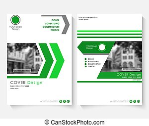 Green cover design template for annual report. Modern business concept booklet. Magazine brochure with text. Catalog layout page A4 size. Vector newsletter publication.