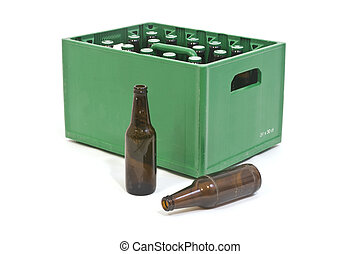 Green crate - Beer crate with two empty bottles in front