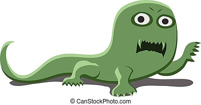 Vector illustration of a single green crawling monster.