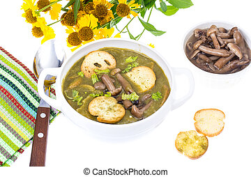 Green cream soup with croutons and mushrooms