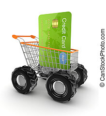 Green credit card in a shopping trolley.Isolated on white...