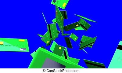 Green Credit cards on blue chroma key. 3D render animation.