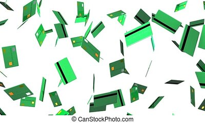 Green Credit cards on white background. Loop able 3D render...