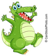 Green crocodile standing on white background
