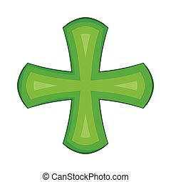 Green cross icon in cartoon style
