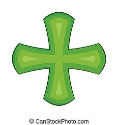 Green cross icon in cartoon style