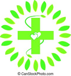 Green cross with hearts and leaf isolated on white background
