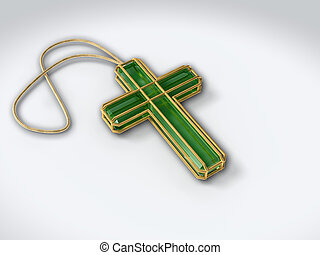 Sapphire green precious stone crucifix in golden wire, isolated on white background, with pendant