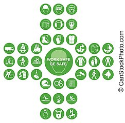 Green cruciform health and safety icon collection - Green...