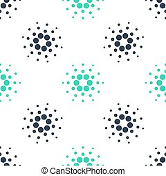 Green Cryptocurrency coin Cardano ADA icon isolated seamless pattern on white background. Digital currency. Altcoin symbol. Blockchain based secure crypto currency. Vector.