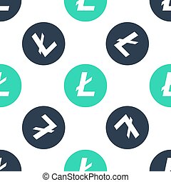 Green Cryptocurrency coin Litecoin LTC icon isolated seamless pattern on white background. Digital currency. Altcoin symbol. Blockchain based secure crypto currency. Vector.