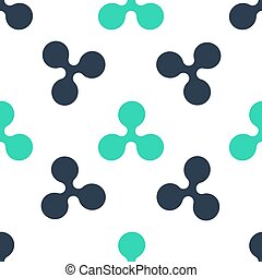 Green Cryptocurrency coin Ripple XRP icon isolated seamless pattern on white background. Digital currency. Altcoin symbol. Blockchain based secure crypto currency. Vector.