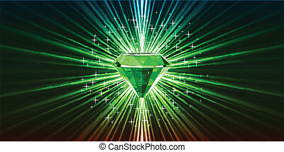 Green crystal background with stars. Vector