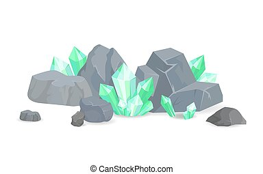 Green Crystals Among Stones Realistic Minerals