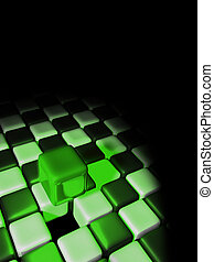 Green cube above other cubes with a black background