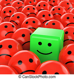 a green happy cube smiley between many red sherical sad others as concept for unique, optimistic, positive, difference