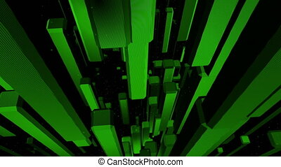 Green cubes looping abstract background