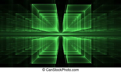 Green Cubes Rotating in Perspective