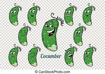 green cucumber emotions characters collection set. Isolated...