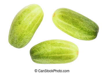 Green cucumber isolated background