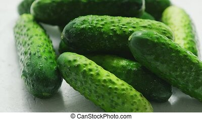 Green cucumbers in closeup