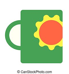 Green cup flat illustration on white