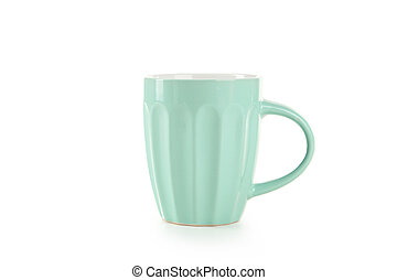 Green cup isolated on white