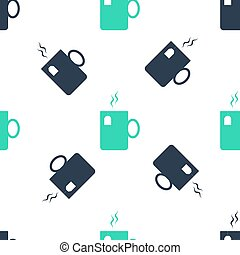 Green Cup of tea with tea bag icon isolated seamless pattern on white background. Vector
