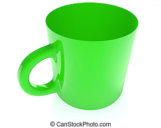 Green cup on white background