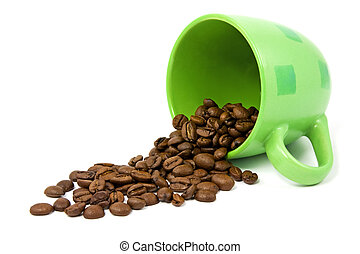green cup with coffee beans