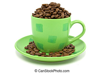 cup with coffee beans over a white background