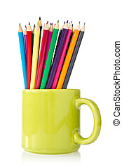 green cup with pencils