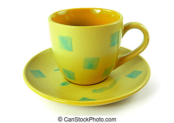 green cup with plate