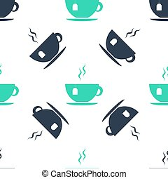 Green Cup with tea bag icon isolated seamless pattern on white background. Vector