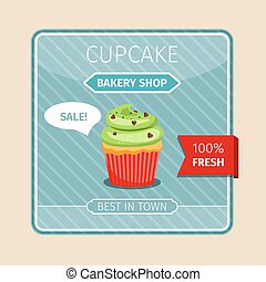 Green cupcake with chocolate hearts card