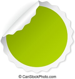 Green curled note paper vector sticker