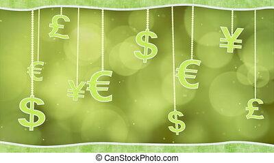 green currency signs dangling loop