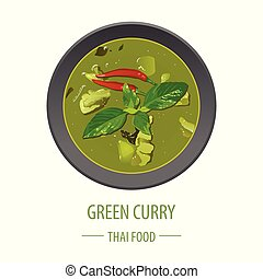 Green Curry famous Thai food, realistic with top view style