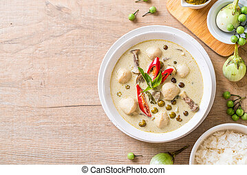 green curry with fish ball