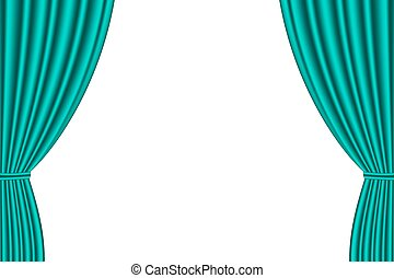 Green curtain opened on  white background.