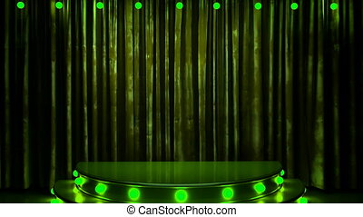 green curtain stage with golden podium and lights