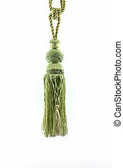 Green curtain tassel interior decoration. - Green curtain...